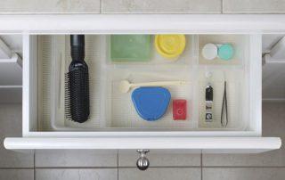 Open bathroom drawer
