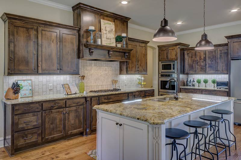 modern kitchen with cabinets